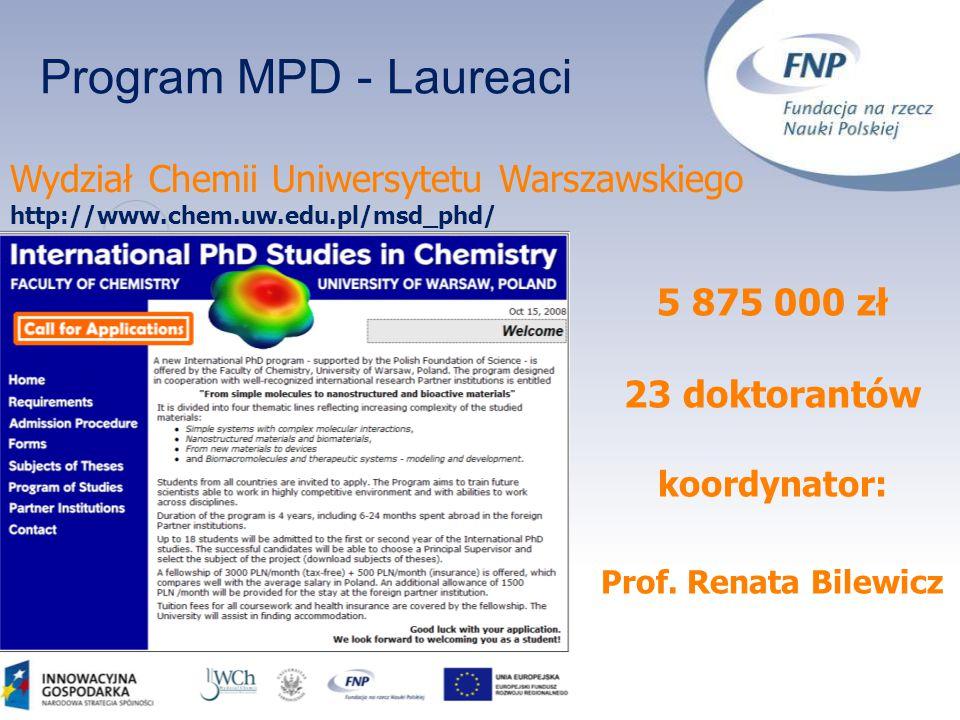 Program MPD - Laureaci Wydział Chemii Uniwersytetu Warszawskiego