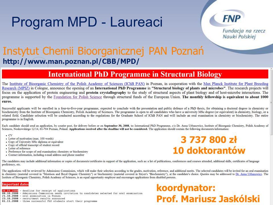Program MPD - Laureaci Instytut Chemii Bioorganicznej PAN Poznań