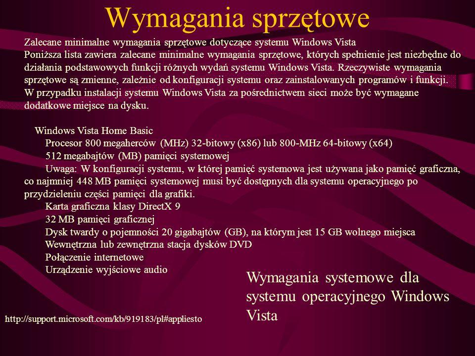 Wymagania sprzętowe Zalecane minimalne wymagania sprzętowe dotyczące systemu Windows Vista.