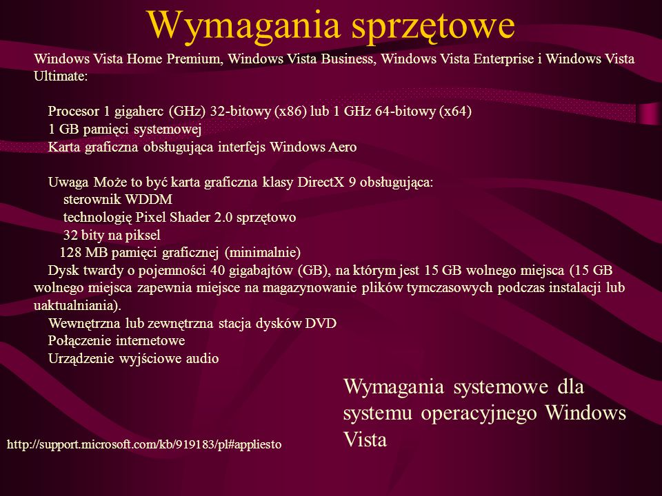 Wymagania sprzętowe Windows Vista Home Premium, Windows Vista Business, Windows Vista Enterprise i Windows Vista Ultimate: