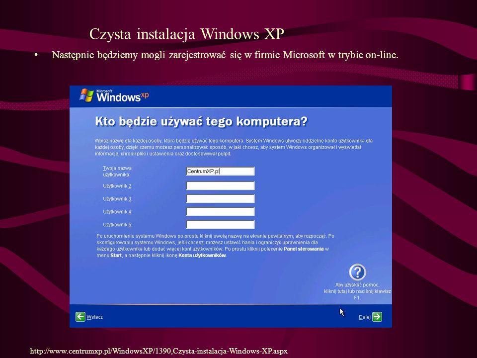 Czysta instalacja Windows XP