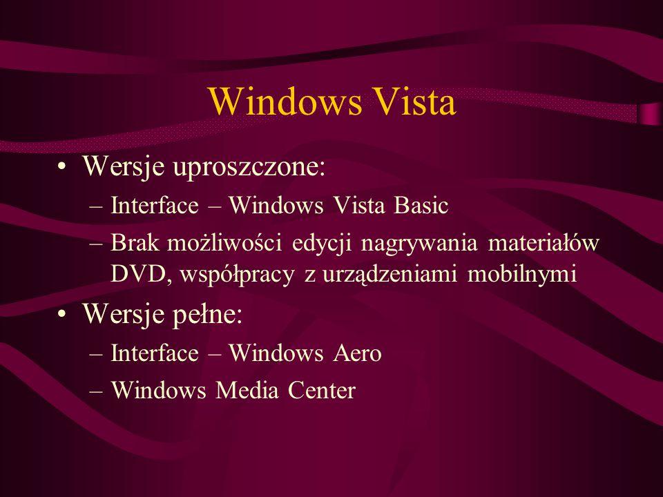 Windows Vista Wersje uproszczone: Wersje pełne: