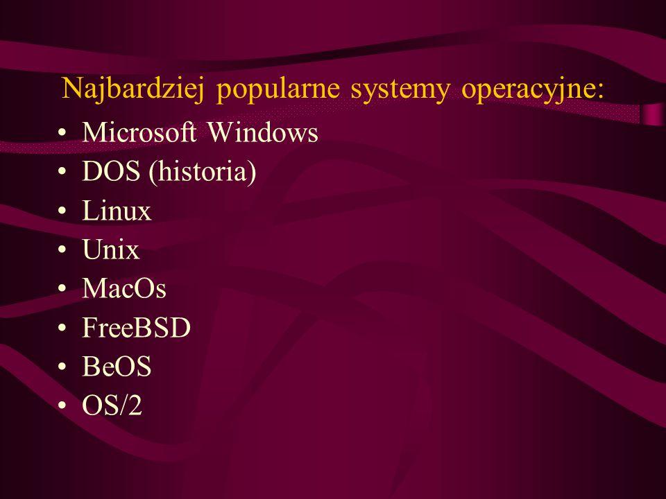 Najbardziej popularne systemy operacyjne: