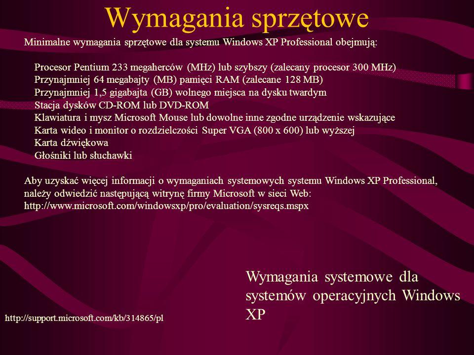 Wymagania sprzętowe Minimalne wymagania sprzętowe dla systemu Windows XP Professional obejmują:
