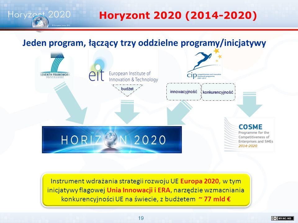 Jeden program, łączący trzy oddzielne programy/inicjatywy