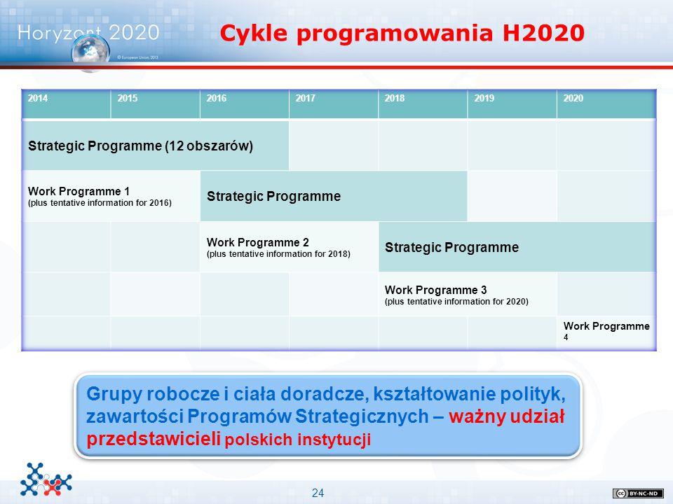 Cykle programowania H2020 2014. 2015. 2016. 2017. 2018. 2019. 2020. Strategic Programme (12 obszarów)