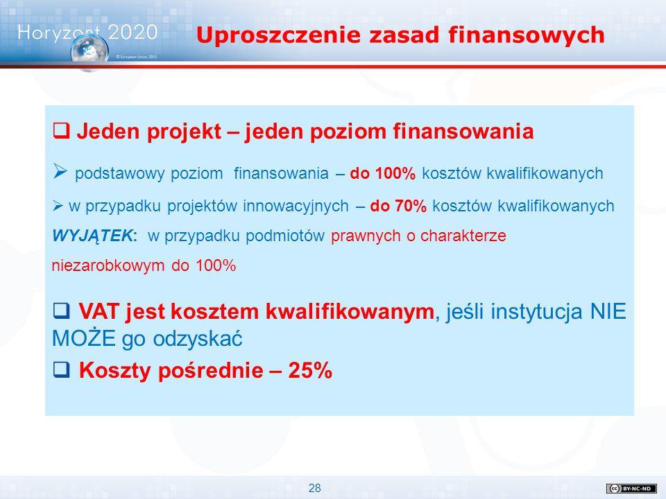 Uproszczenie zasad finansowych