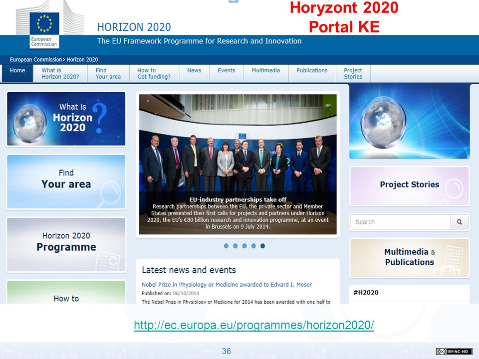Horyzont 2020 Portal KE http://ec.europa.eu/programmes/horizon2020/