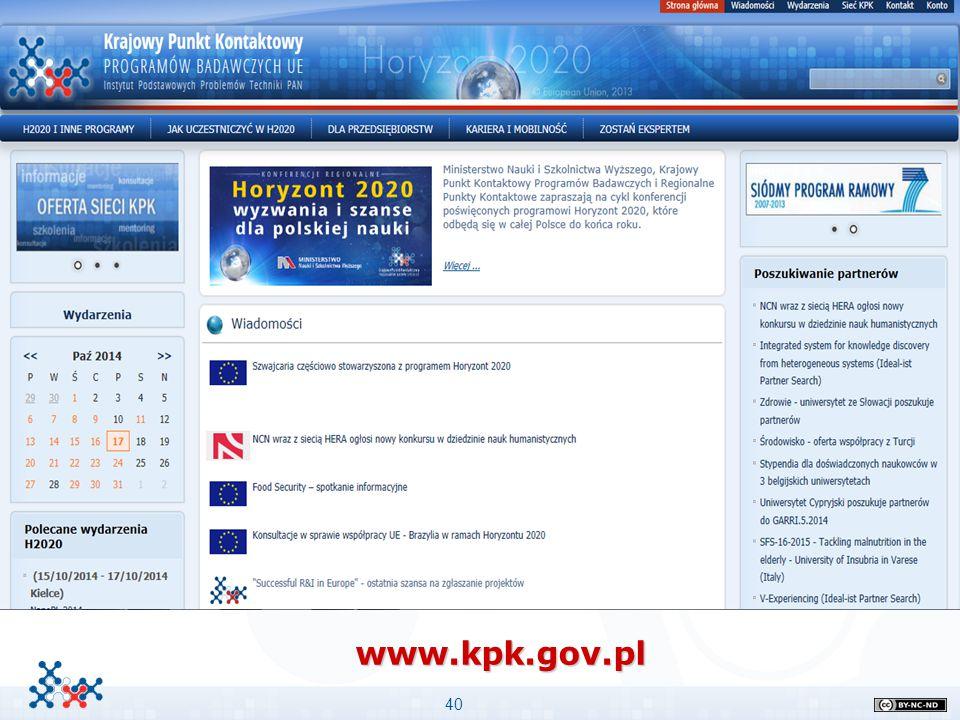 www.kpk.gov.pl Ważne informacje: Przykład podpunktów Stopień niżej