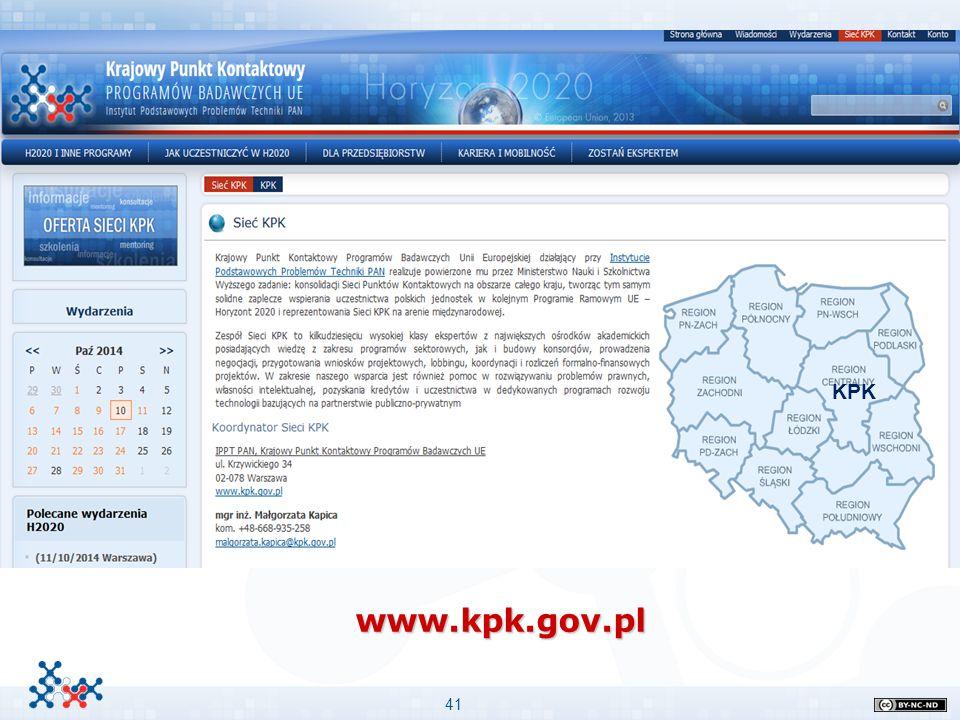 www.kpk.gov.pl Ważne informacje: Przykład podpunktów Stopień niżej KPK