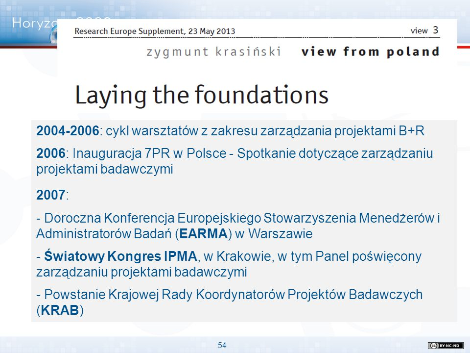2004-2006: cykl warsztatów z zakresu zarządzania projektami B+R