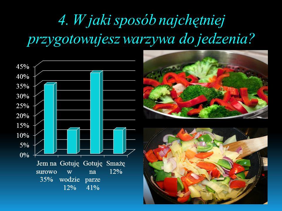 4. W jaki sposób najchętniej przygotowujesz warzywa do jedzenia