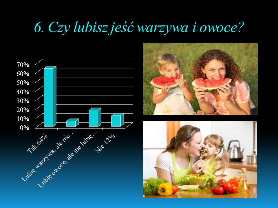 6. Czy lubisz jeść warzywa i owoce
