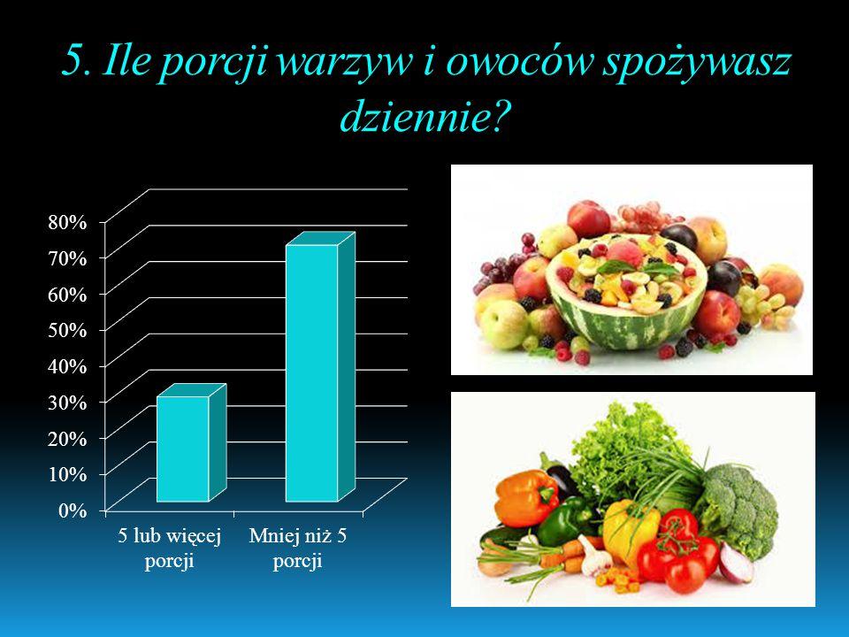 5. Ile porcji warzyw i owoców spożywasz dziennie