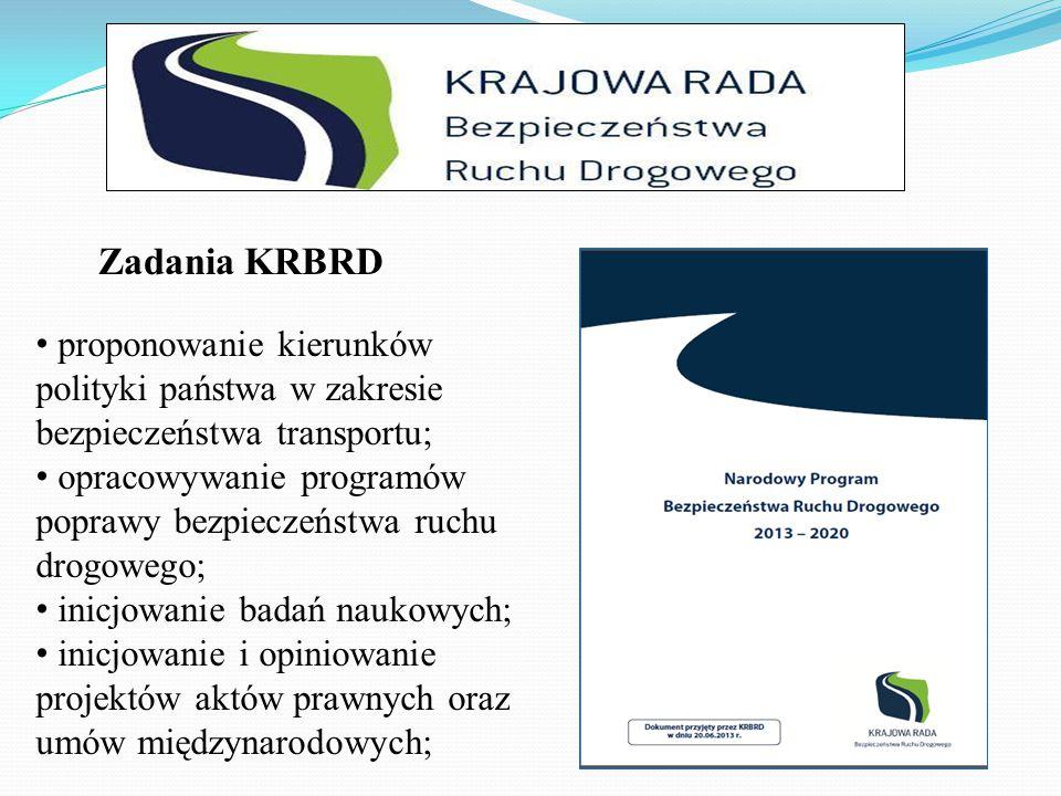 Zadania KRBRD proponowanie kierunków polityki państwa w zakresie bezpieczeństwa transportu;