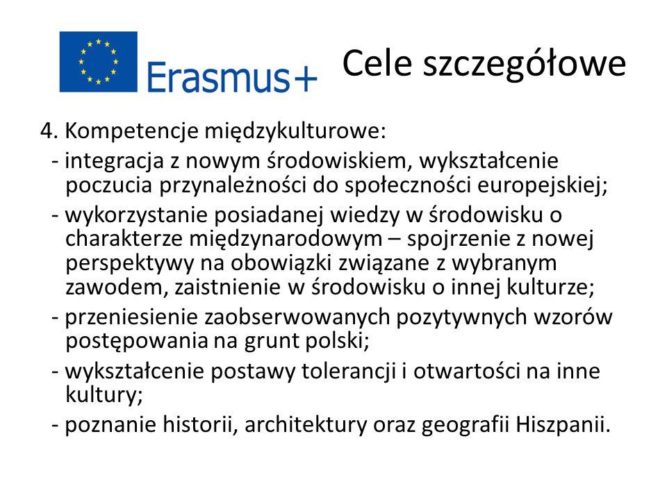 Cele szczegółowe 4. Kompetencje międzykulturowe: