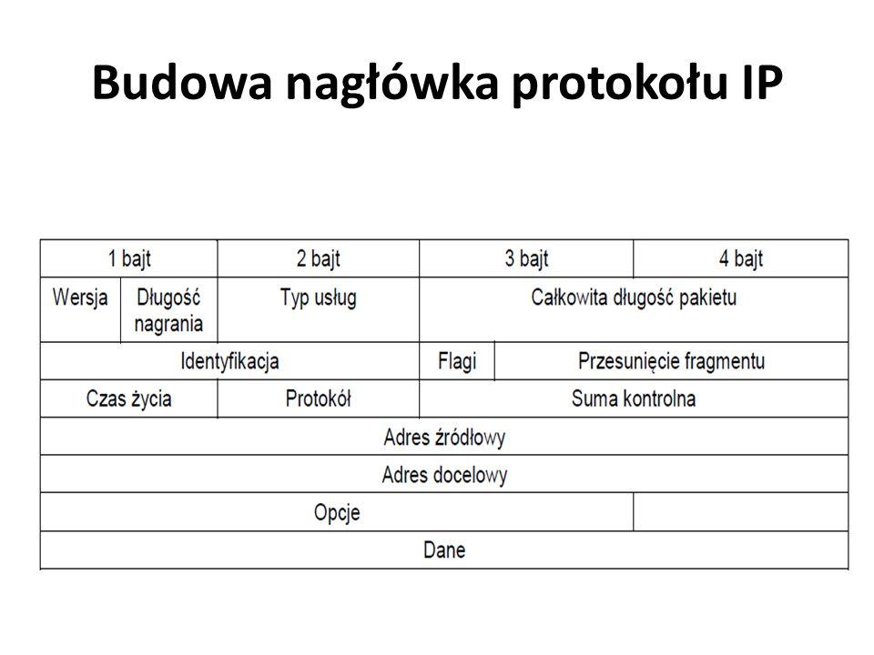 Budowa nagłówka protokołu IP