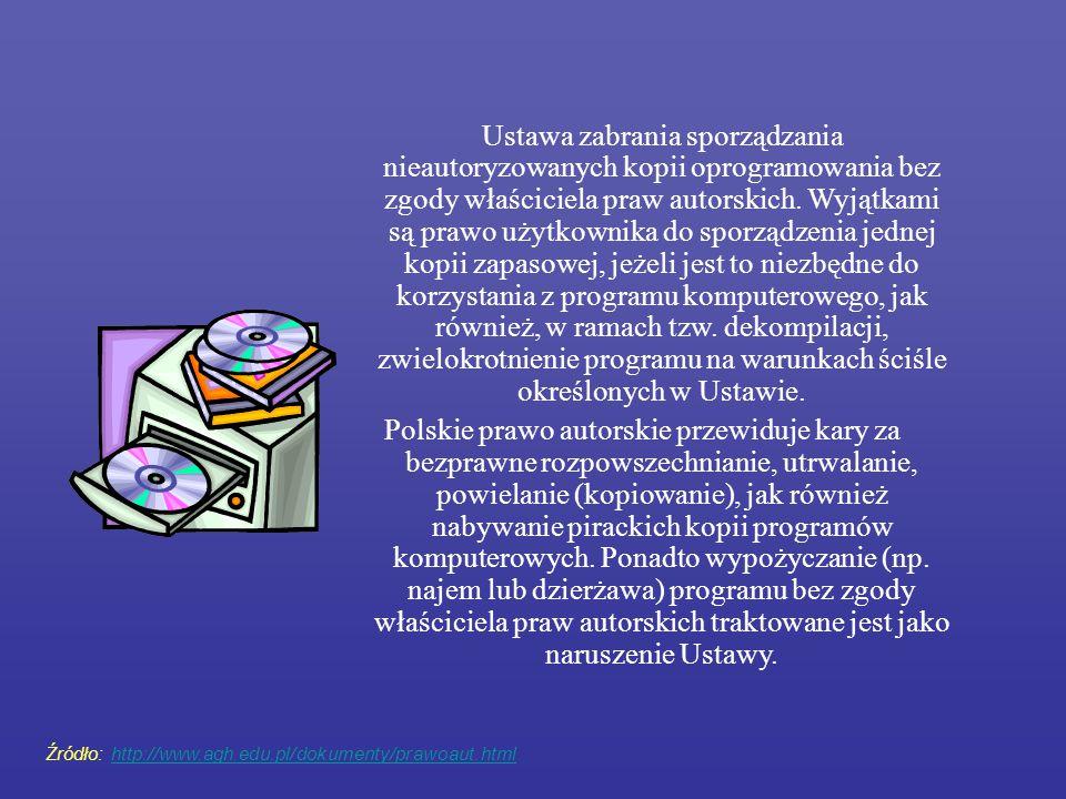 Ustawa zabrania sporządzania nieautoryzowanych kopii oprogramowania bez zgody właściciela praw autorskich. Wyjątkami są prawo użytkownika do sporządzenia jednej kopii zapasowej, jeżeli jest to niezbędne do korzystania z programu komputerowego, jak również, w ramach tzw. dekompilacji, zwielokrotnienie programu na warunkach ściśle określonych w Ustawie.