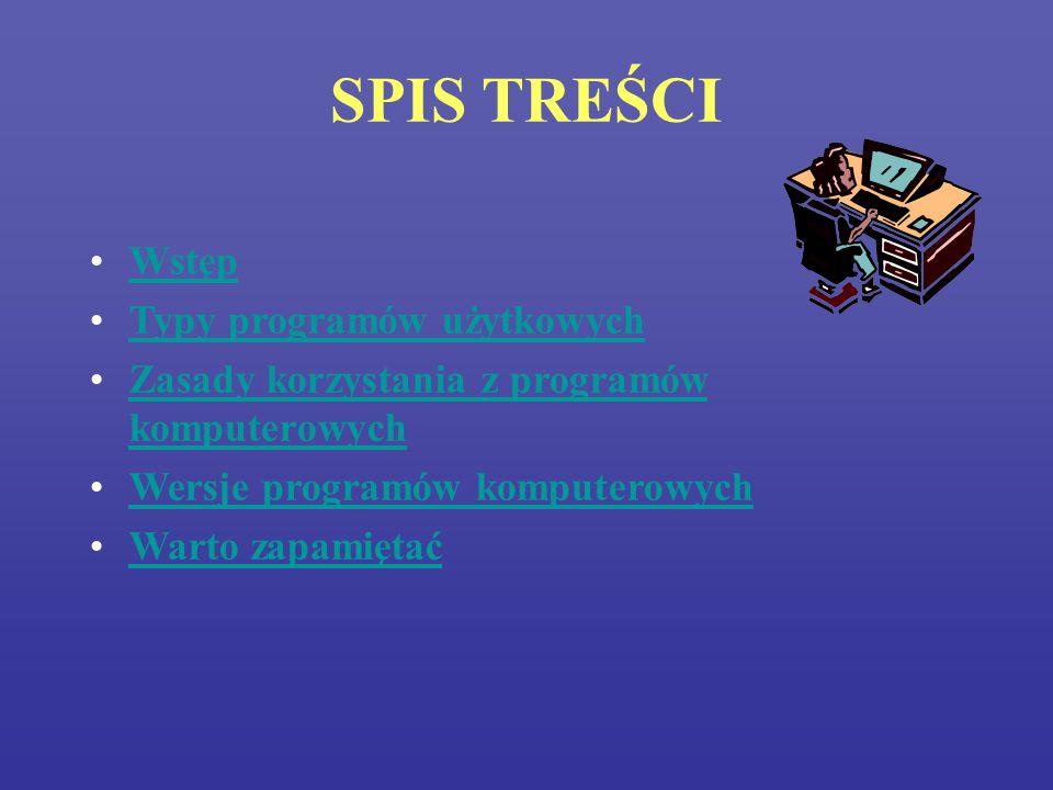 SPIS TREŚCI Wstęp Typy programów użytkowych
