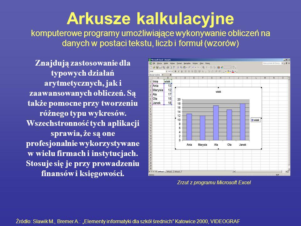 Arkusze kalkulacyjne komputerowe programy umożliwiające wykonywanie obliczeń na danych w postaci tekstu, liczb i formuł (wzorów)
