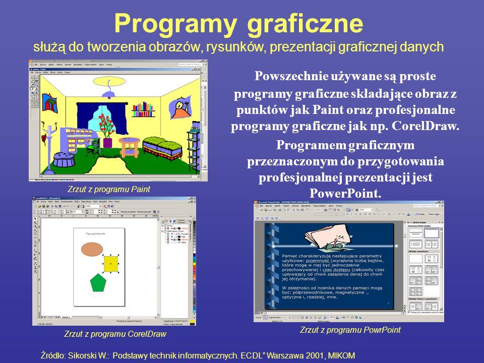 Programy graficzne służą do tworzenia obrazów, rysunków, prezentacji graficznej danych