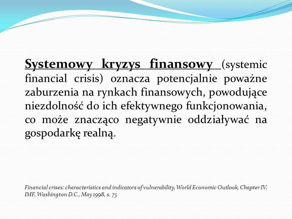 Systemowy kryzys finansowy (systemic financial crisis) oznacza potencjalnie poważne zaburzenia na rynkach finansowych, powodujące niezdolność do ich efektywnego funkcjonowania, co może znacząco negatywnie oddziaływać na gospodarkę realną.