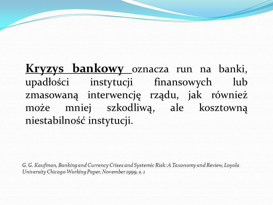 Kryzys bankowy oznacza run na banki, upadłości instytucji finansowych lub zmasowaną interwencję rządu, jak również może mniej szkodliwą, ale kosztowną niestabilność instytucji.