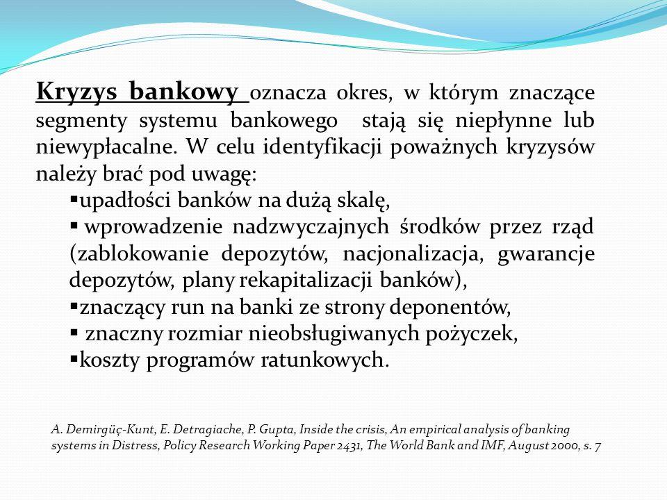 Kryzys bankowy oznacza okres, w którym znaczące segmenty systemu bankowego stają się niepłynne lub niewypłacalne. W celu identyfikacji poważnych kryzysów należy brać pod uwagę: