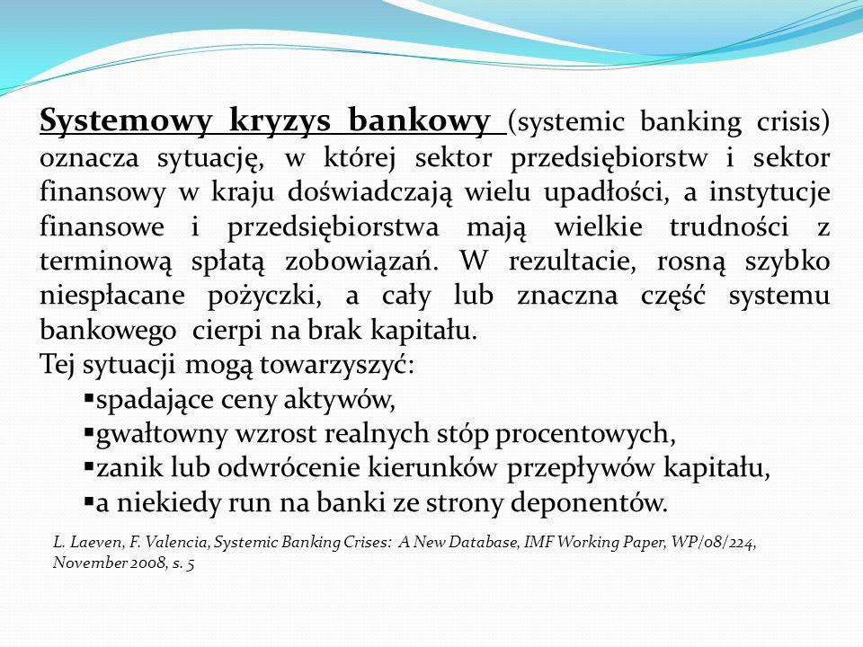 Systemowy kryzys bankowy (systemic banking crisis) oznacza sytuację, w której sektor przedsiębiorstw i sektor finansowy w kraju doświadczają wielu upadłości, a instytucje finansowe i przedsiębiorstwa mają wielkie trudności z terminową spłatą zobowiązań. W rezultacie, rosną szybko niespłacane pożyczki, a cały lub znaczna część systemu bankowego cierpi na brak kapitału.