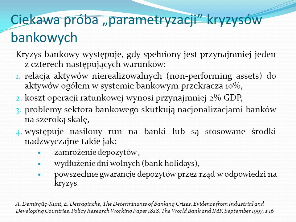"""Ciekawa próba """"parametryzacji kryzysów bankowych"""