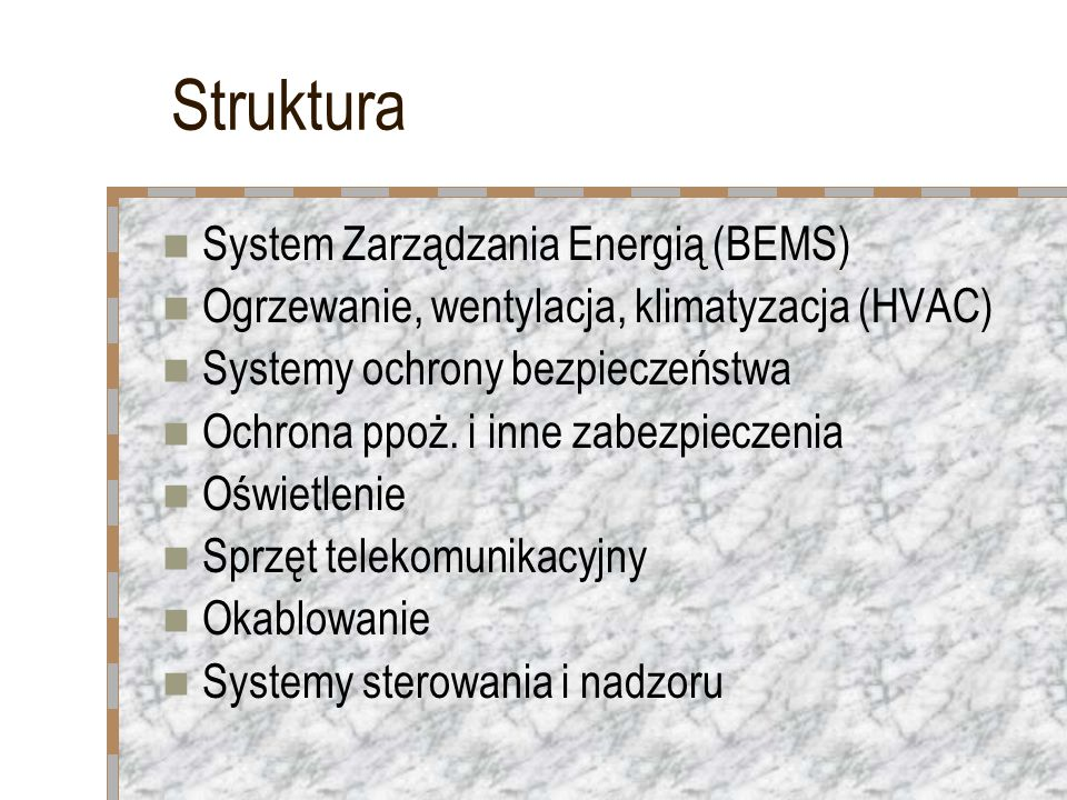 Struktura System Zarządzania Energią (BEMS)