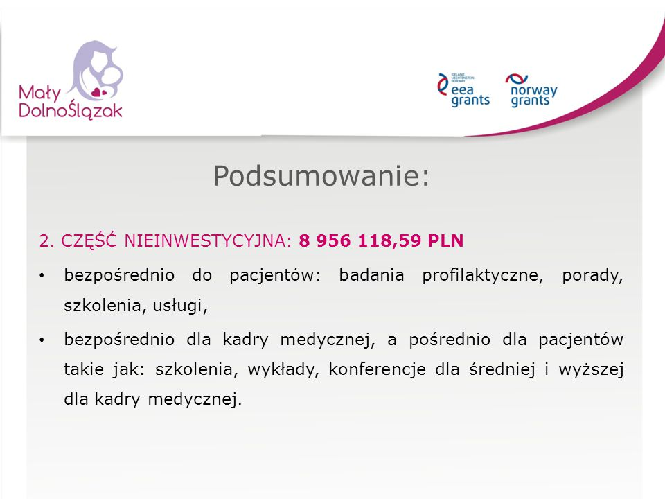Podsumowanie: 2. CZĘŚĆ NIEINWESTYCYJNA: 8 956 118,59 PLN