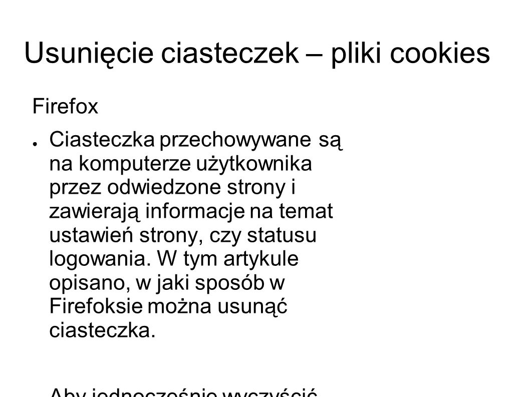Usunięcie ciasteczek – pliki cookies