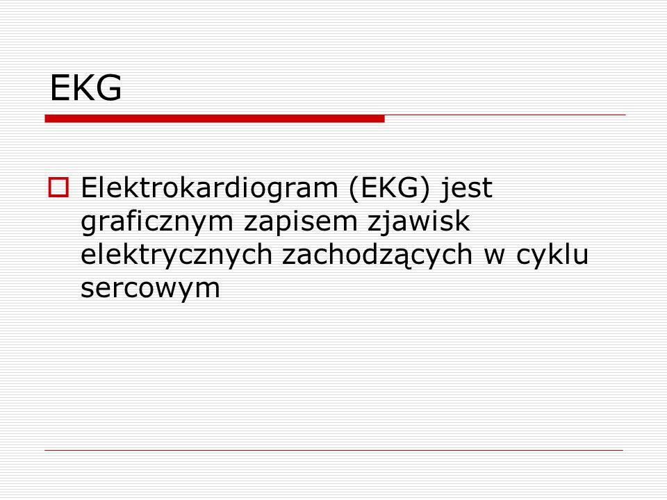 EKG Elektrokardiogram (EKG) jest graficznym zapisem zjawisk elektrycznych zachodzących w cyklu sercowym.