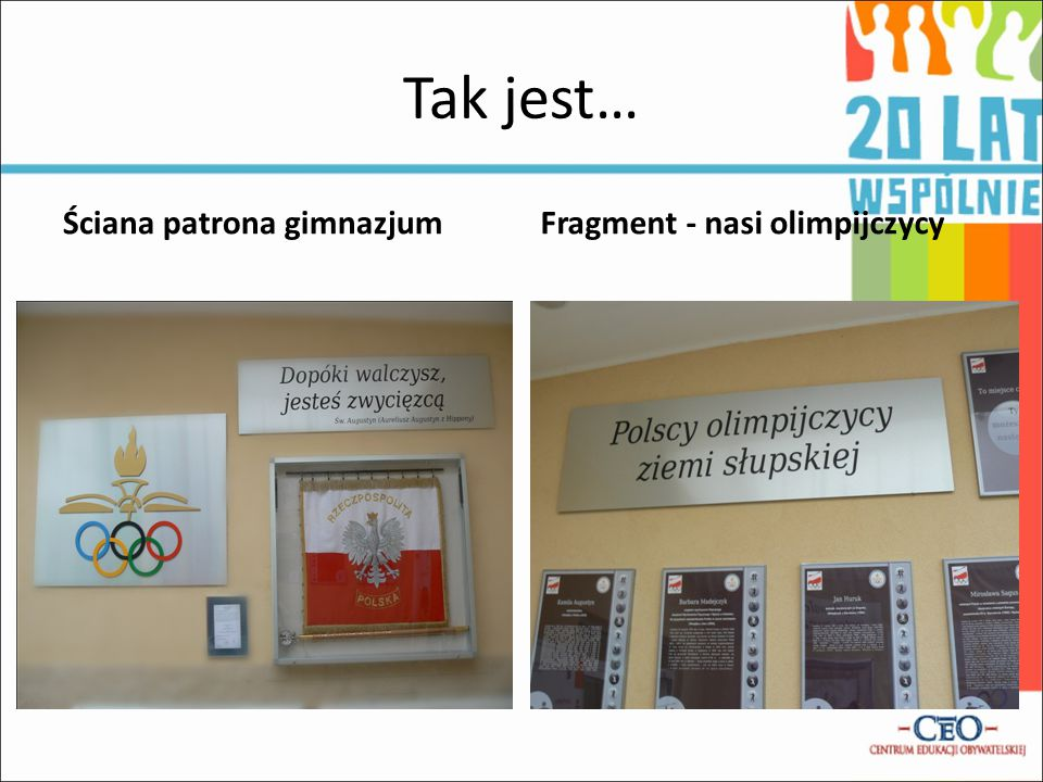Tak jest… Ściana patrona gimnazjum Fragment - nasi olimpijczycy