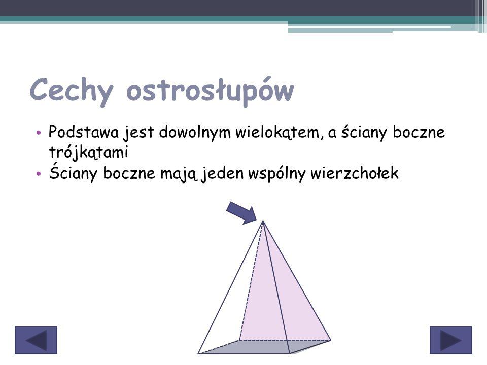 Cechy ostrosłupów Podstawa jest dowolnym wielokątem, a ściany boczne trójkątami.