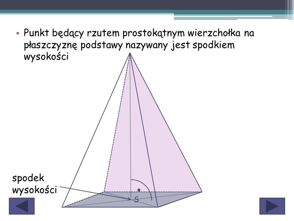 Punkt będący rzutem prostokątnym wierzchołka na płaszczyznę podstawy nazywany jest spodkiem wysokości