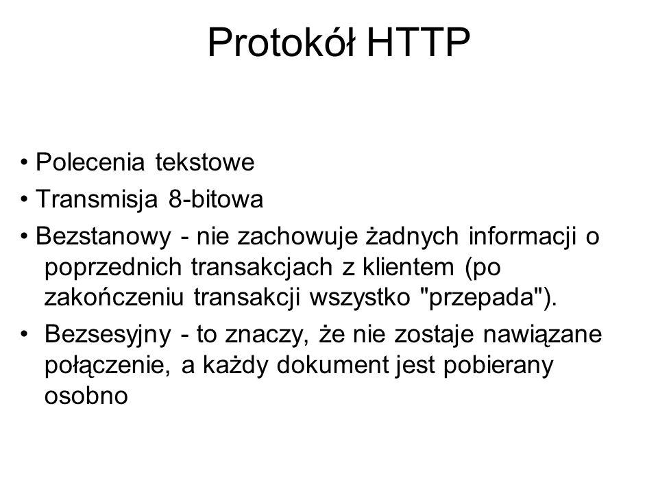 Protokół HTTP • Polecenia tekstowe • Transmisja 8-bitowa