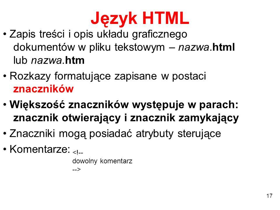 Język HTML • Zapis treści i opis układu graficznego dokumentów w pliku tekstowym – nazwa.html lub nazwa.htm.