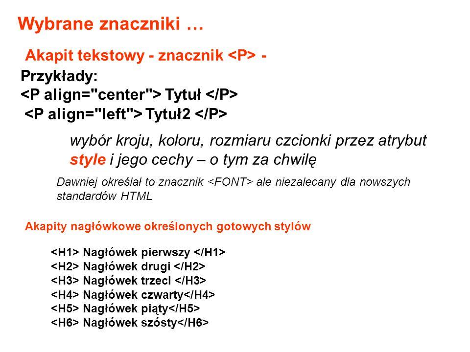 Wybrane znaczniki … Akapit tekstowy - znacznik <P> - Przykłady: