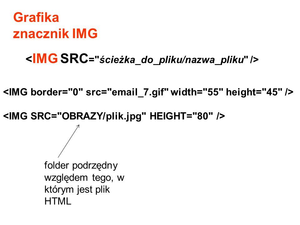 Grafika znacznik IMG <IMG SRC= ścieżka_do_pliku/nazwa_pliku />