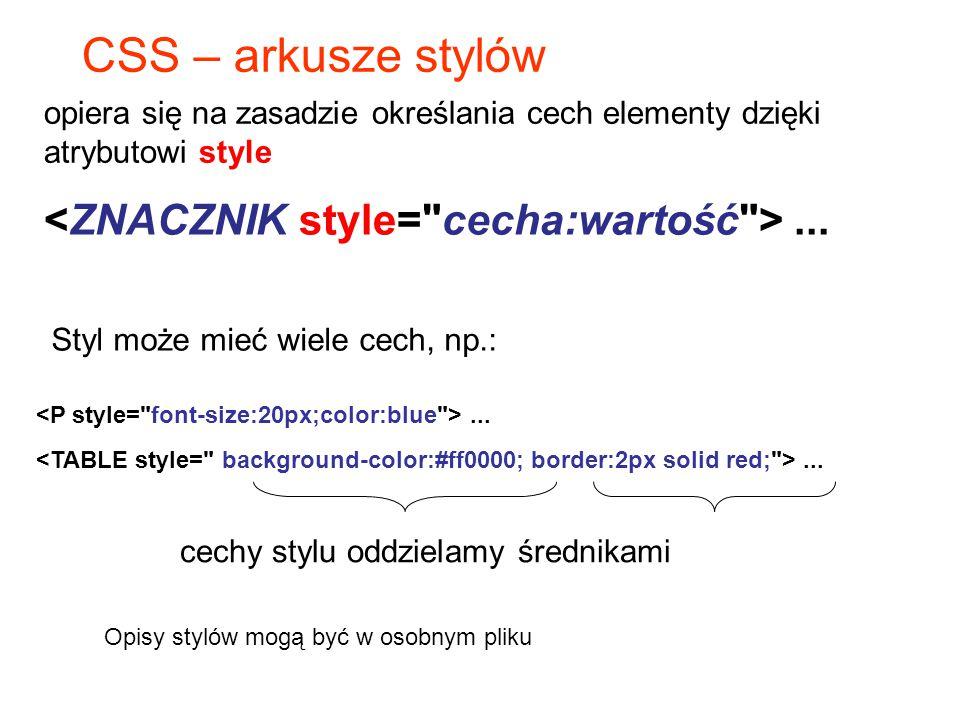 CSS – arkusze stylów <ZNACZNIK style= cecha:wartość > ...