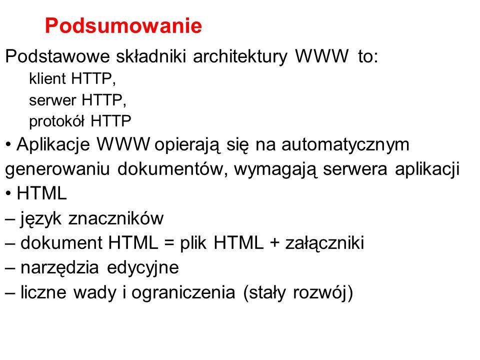 Podsumowanie Podstawowe składniki architektury WWW to: