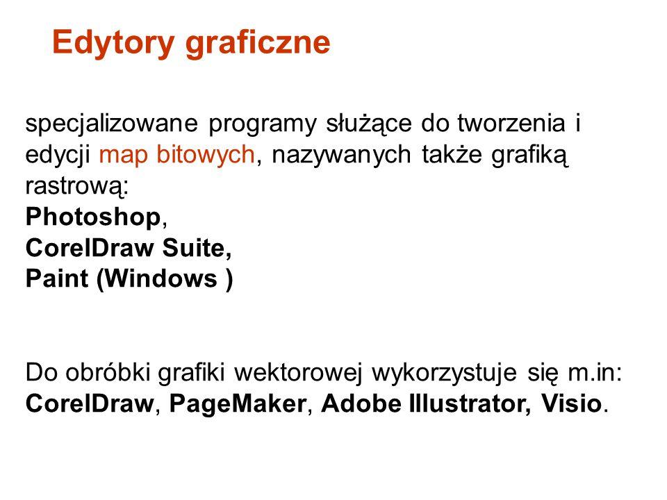 Edytory graficzne specjalizowane programy służące do tworzenia i edycji map bitowych, nazywanych także grafiką rastrową: