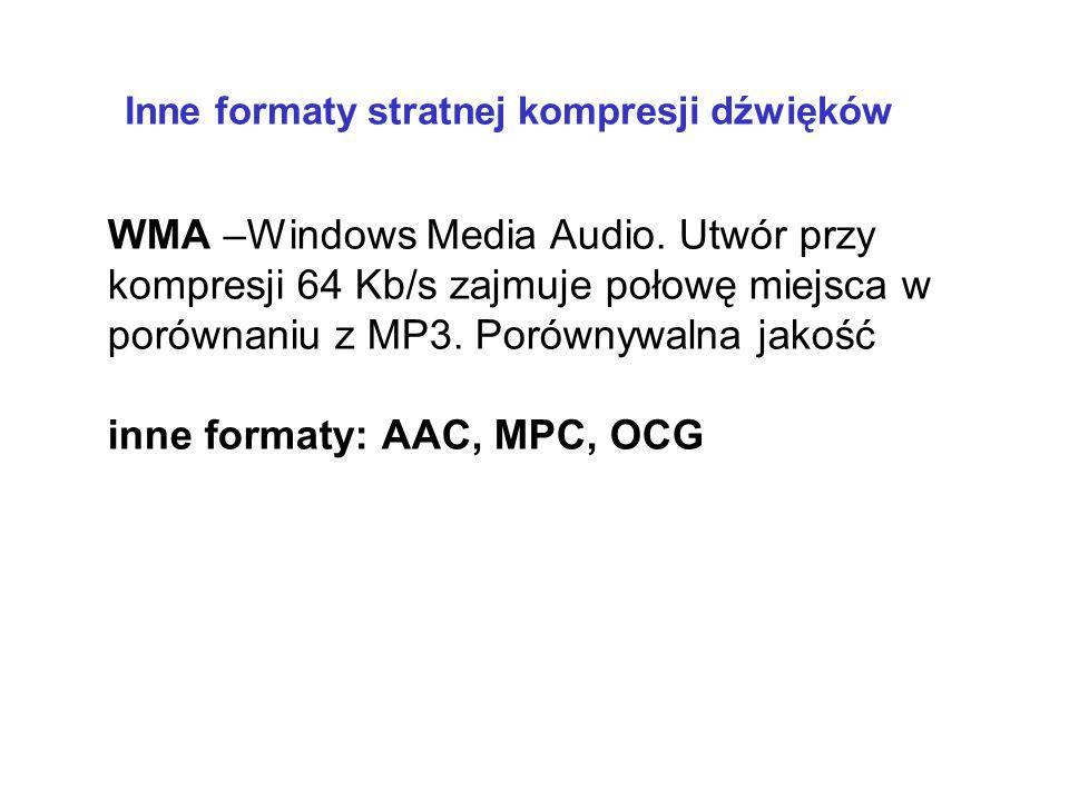 inne formaty: AAC, MPC, OCG