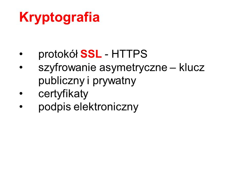 Kryptografia protokół SSL - HTTPS