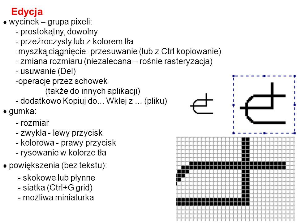 Edycja wycinek – grupa pixeli: - prostokątny, dowolny