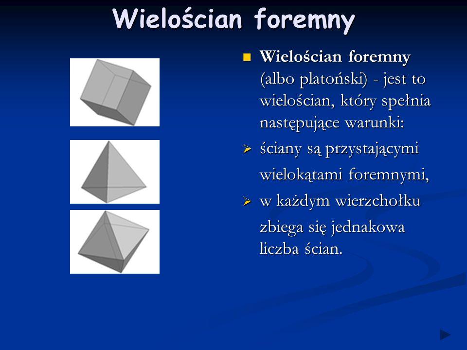 Wielościan foremny Wielościan foremny (albo platoński) - jest to wielościan, który spełnia następujące warunki: