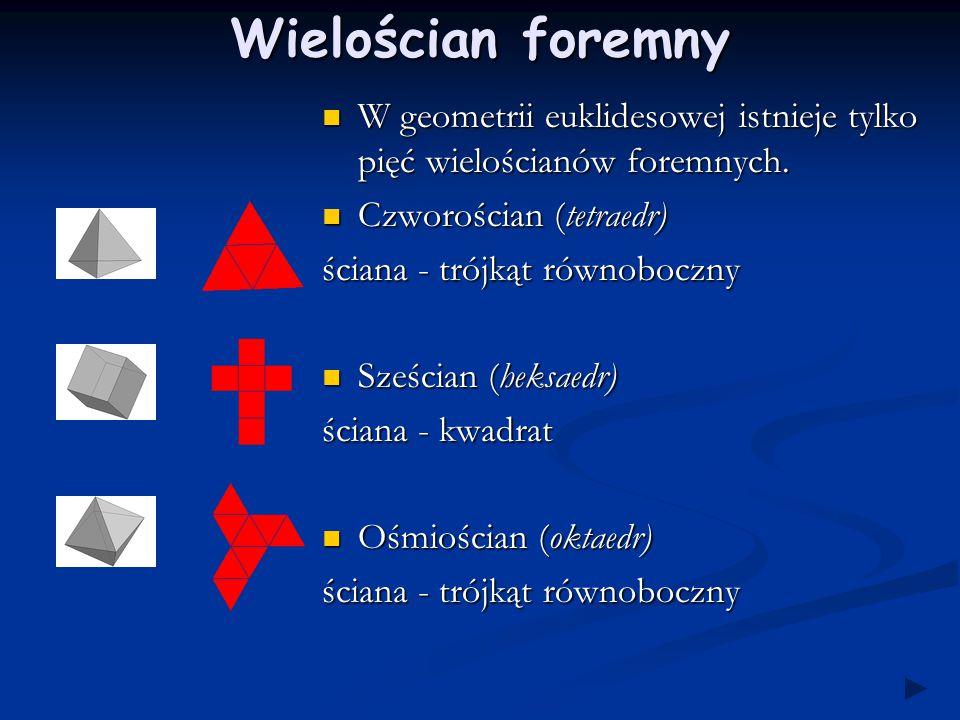 Wielościan foremny W geometrii euklidesowej istnieje tylko pięć wielościanów foremnych. Czworościan (tetraedr)