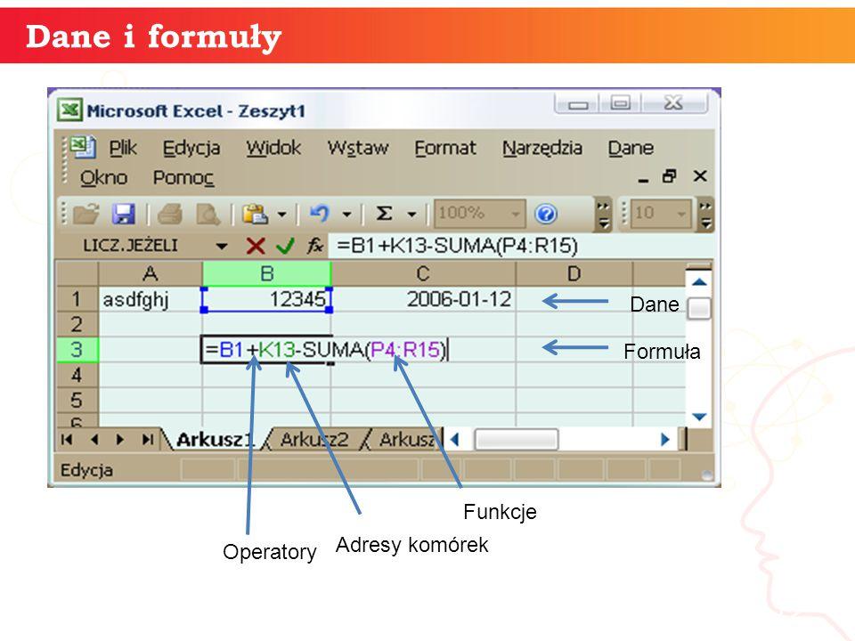 Dane i formuły informatyka + Dane Formuła Funkcje Adresy komórek
